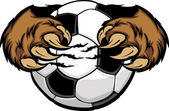 Soccer Ball With Bear Claws Vector Image — Stock Vector
