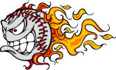 Flaming Baseball or Softball Face Vector Cartoon — Stock Vector