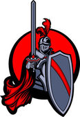 Medieval Knight with Sword and Shield Vector Mascot — Vecteur