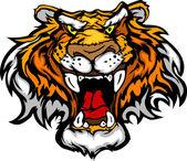 Cartoon Tiger Mascot Head Vector Illustration — Stock Vector