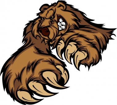Grizzly Bear Mascot Body with Paws and Claws