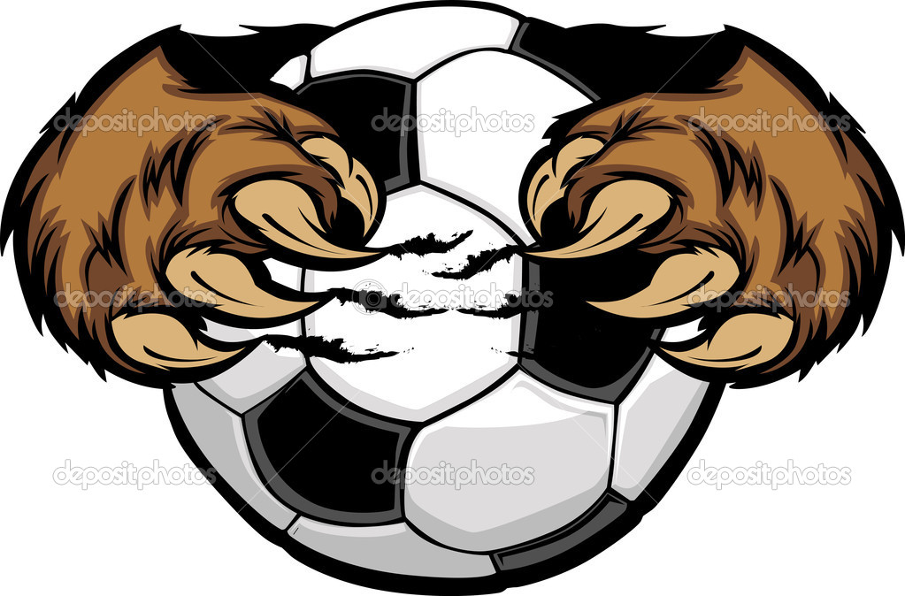 Vector Cartoon of Bear Claws holding a Soccer Ball — Stock Vector #6695017