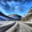 Ice road under a blue sky — Stock Photo #6396035