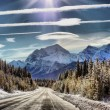 Ice road under a blue sky — Stock Photo
