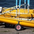Yellow sailing dinghies — ストック写真