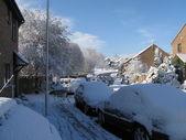 Snowy street scene — Stock Photo