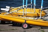 Yellow sailing dinghies — Stock Photo