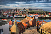 Whitby West Cliff from the top of the 100 steps — Stock Photo