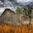 Barn ruins under a moody sky — Stock Photo