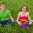 Stok fotoğraf: Couple on grass and meditate together smiling