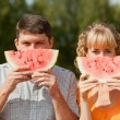 Eat watermelon — Stock Photo