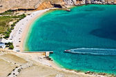 Vela luka turquoise beach aerial, Krk, Croatia — Stock Photo