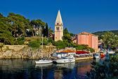 Veli losinj panoramic - church & safe harbour — Stock Photo