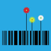 Barcode with flowers — Stock Vector
