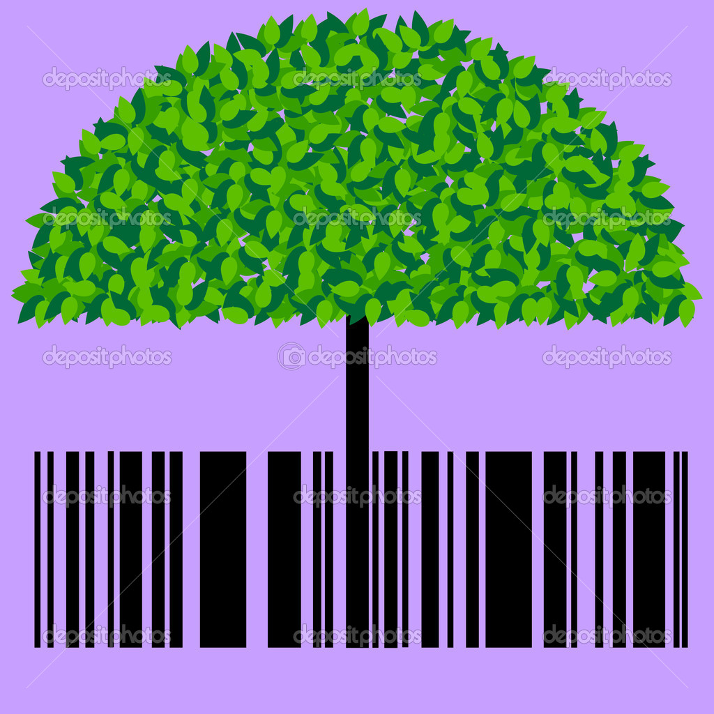 Bar code with a tree  Stock Vector #6497827
