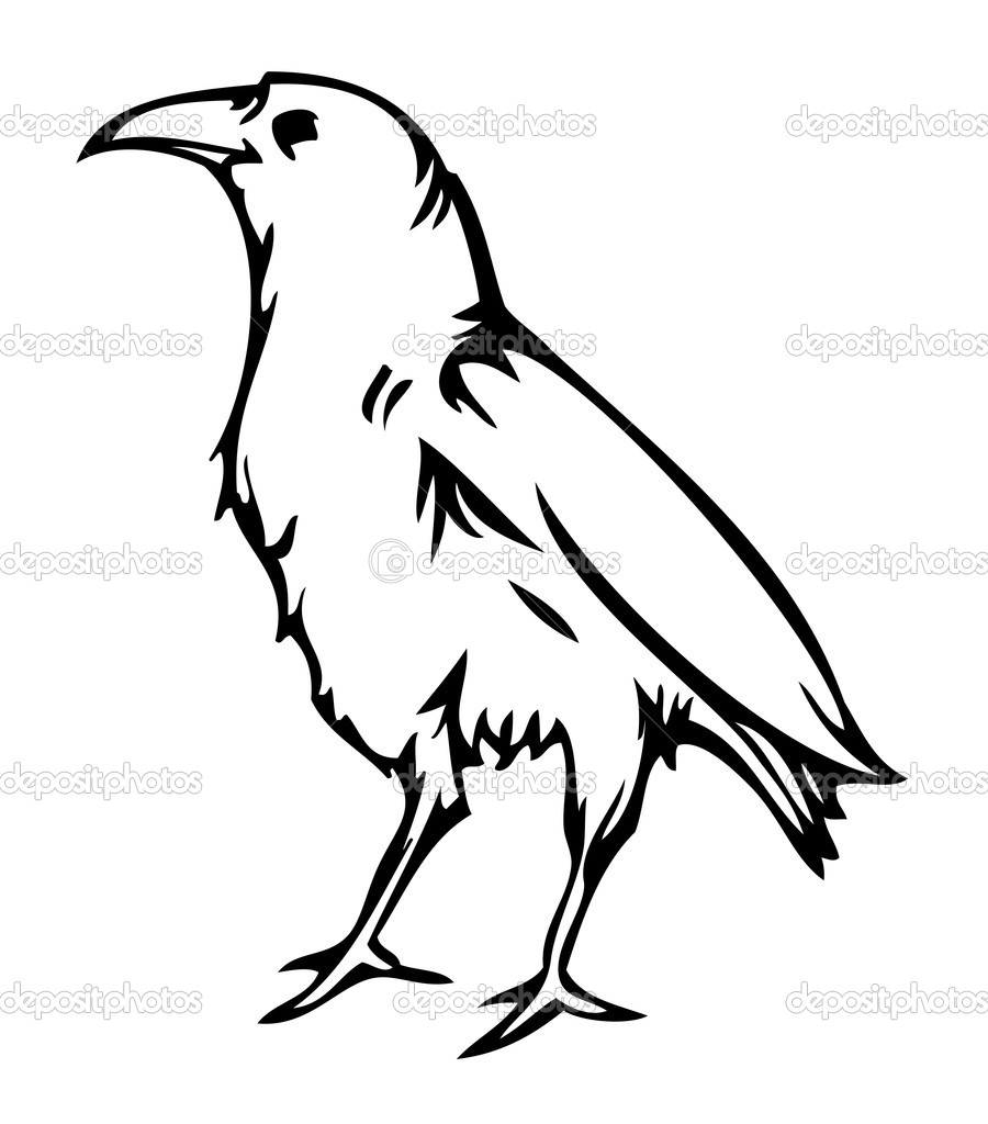Nice illustration of crow, tattoo style creative work, vector file included. — Stock Vector #6448236
