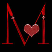 Stylized bloody M alphabet with heart — Stock Photo