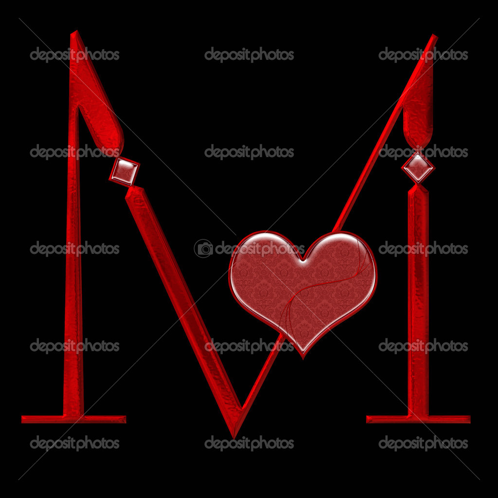 M Alphabet In Heart Stylized bloody M alph...