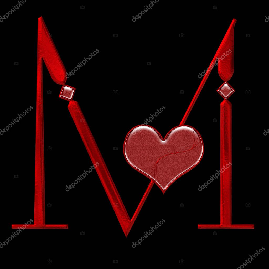 heart stylized M alphabet M Alphabet In Heart