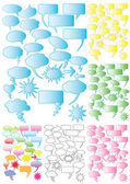 7 Sets of colorful speech bubbles — Stock Vector