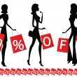 Women shopping with inscription &quot;50 % OFF&quot; on their bags. - Stock Vector