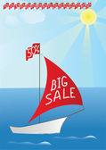 """A boat with words """"BIG SALE"""" on it's sail and sale percent . — Stock Vector"""