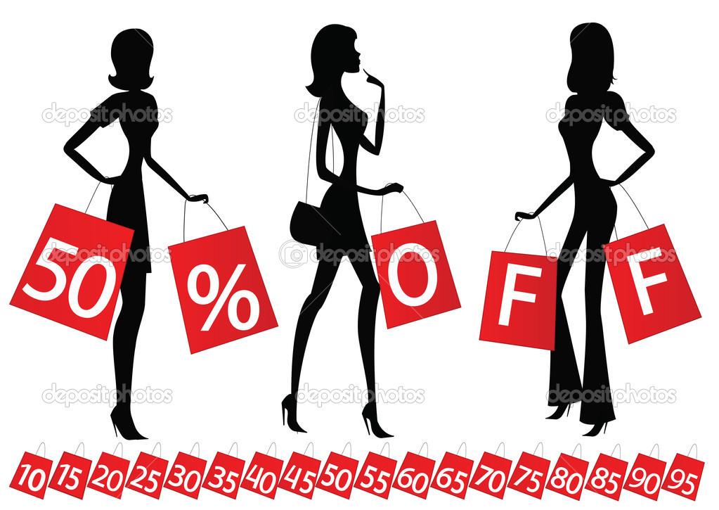 Women shopping with inscription 50 % OFF on their bags. Also bags with different percents on the bottom.  Stock Vector #6515929