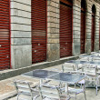 Foto de Stock  : Aluminum tables and charis