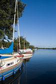 Moored sailing yachts — Stock Photo