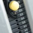 Focus on gym weight machine. Amount of weight on lifting machine. — Stock Photo