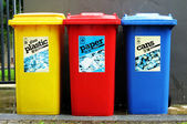 Colourful recycle bins — Stock Photo