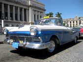 Blue and white old cabrio car — Stock Photo