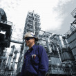 Oil, gas, fuel and workers - Stock Photo