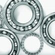 Stock Photo: Titanium ball-bearings against white