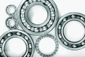Titanium ball-bearings against white — Stock Photo