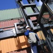 Worker and container forklift — Stock Photo