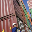 Port worker and containers - Stock Photo