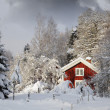 Red cottage in snowy landscape - Stock Photo