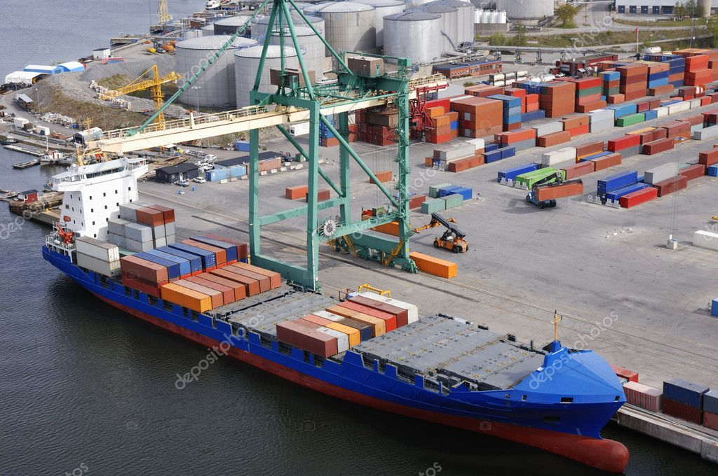 Large container port, commercial port with mored container ship.aerial view.  Stock Photo #6448381