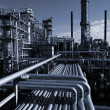 Stock Photo: Oil industry, refinery at night
