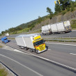 Trucks and trafic on large highway — Stock Photo
