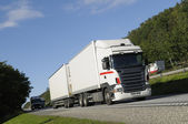 Clean white truck haulage — Stock Photo