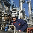 Worker and chemical industry — Stock Photo