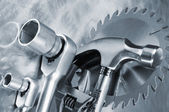 Tools, hammer and wrench — Stock Photo