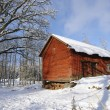 Red barn, winter and snow - Stok fotoğraf