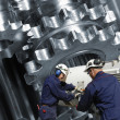 Stock Photo: Working inside steel mill factory