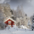 Red cottage, snowy winter and ice — Foto Stock