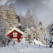 Red cottage, snowy winter and ice - Stock Photo