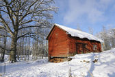 Red barn, winter and snow — Stock Photo