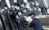 Working inside steel mill factory — Stock Photo
